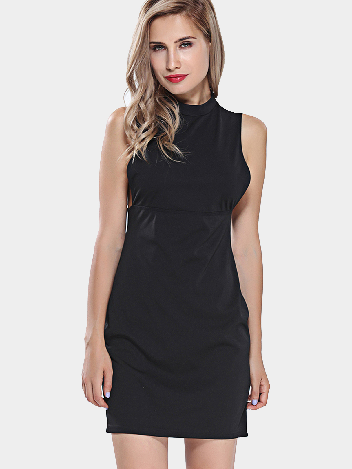 Black Bodycon Dress zip back fit and flare splicing dress