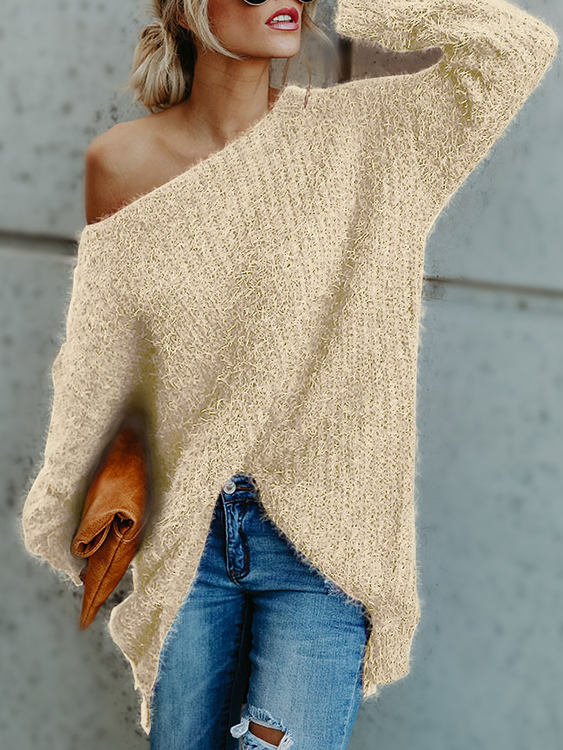 Beige One Shoulder Long Sleeves Loose Sweaters black one shoulder long sleeves causal sweater