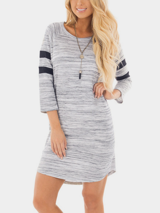 Grey Long Sleeves Curved Hem Mini Dresses grey casual round neck curved hem dress with long sleeves