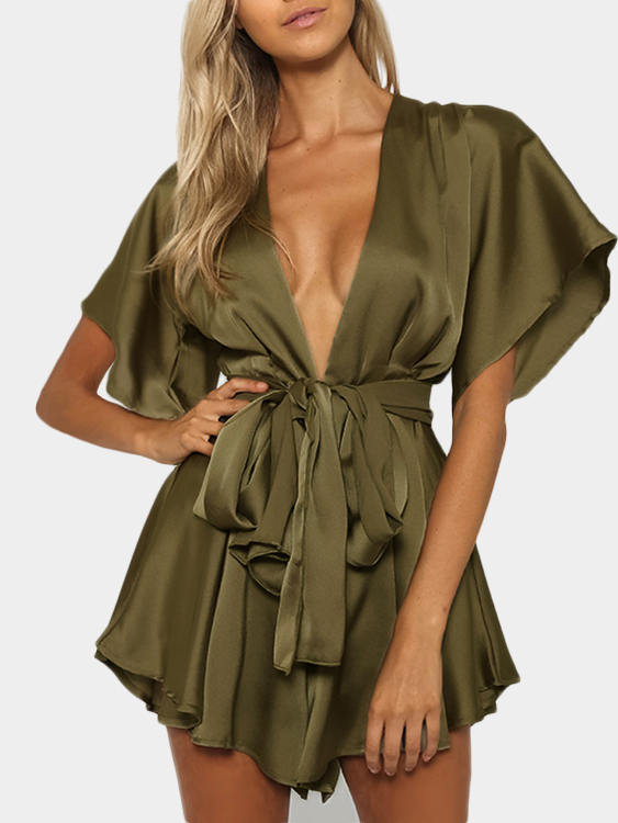Army Green V-neck Cut Out Self-tie Playsuit купить