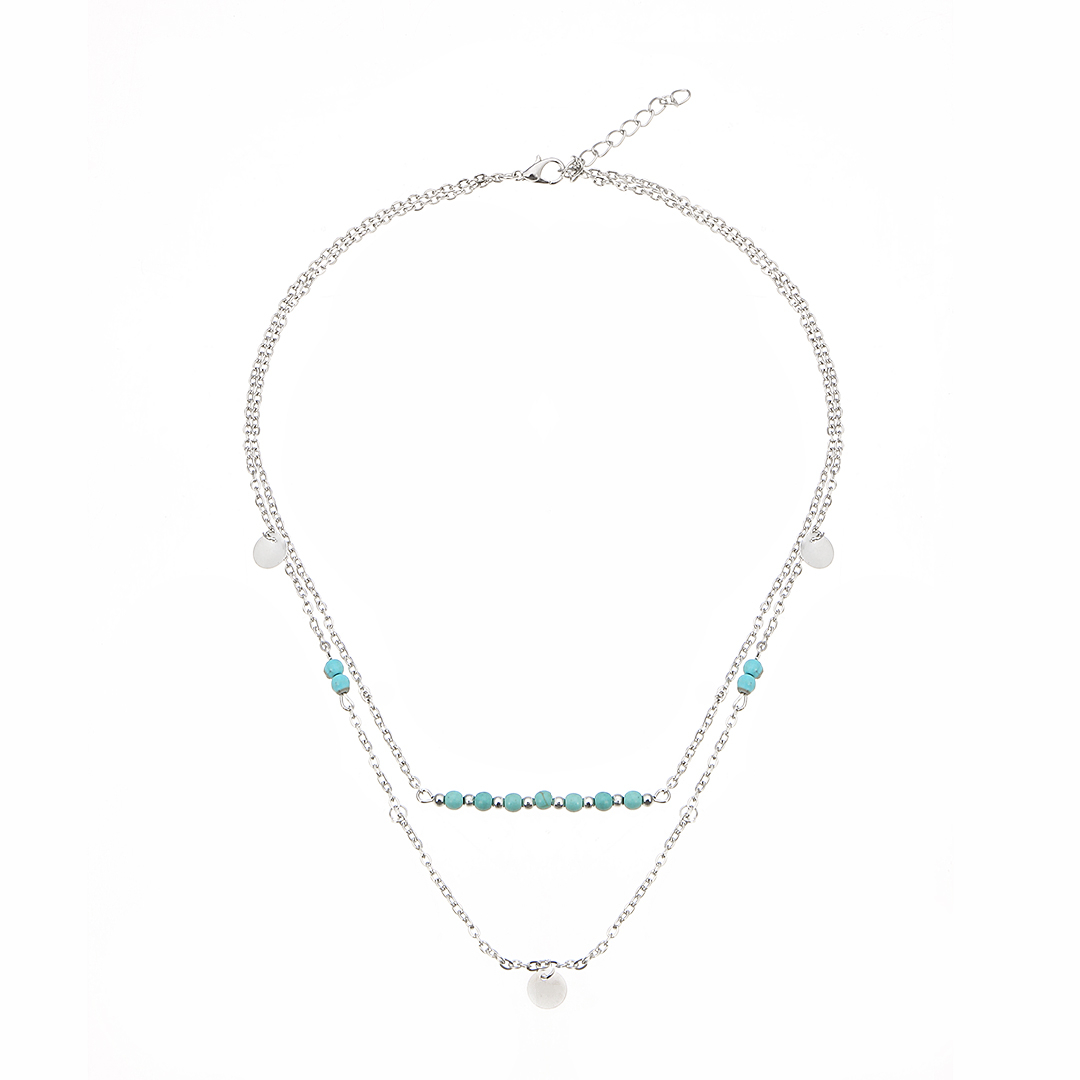 Silver Plated Turquoise Beaded Layered Necklace