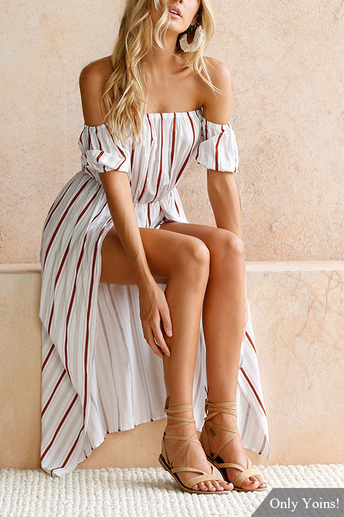 Colour Stripe Print Off-The-Shoulder Playsuit cute off the shoulder lemon dress for women