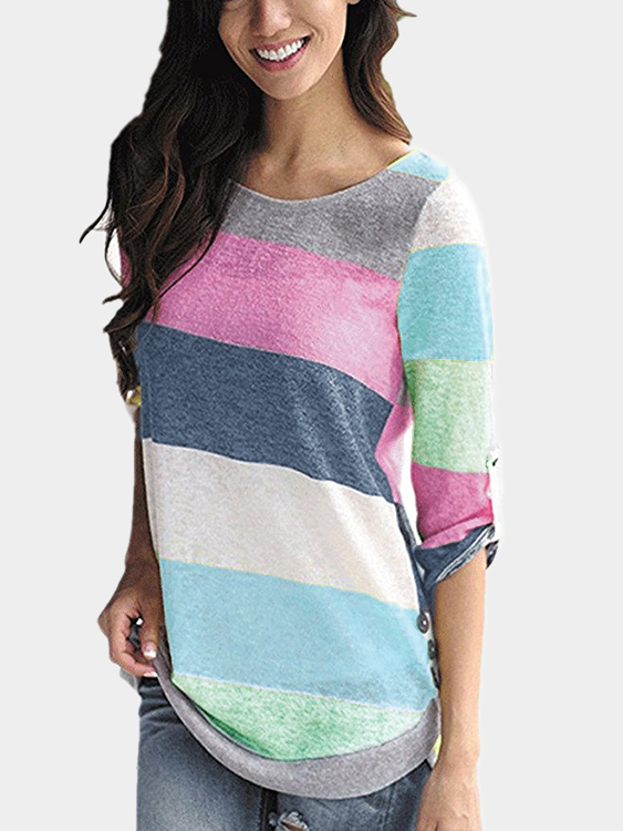 Green Stripe Round Neck Long Sleeves T-shirt green stripe color stitching round neck long sleeves t shirt