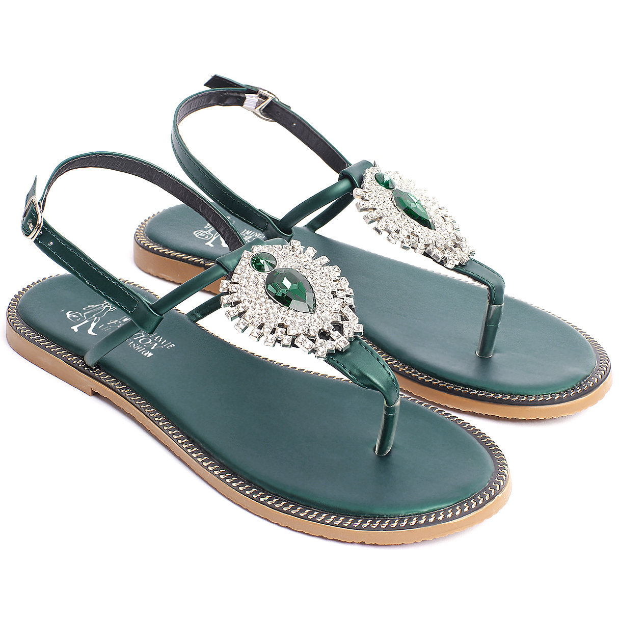 Green Boho Style Jewelry Embellishment Flat Sandals the gorgeously green diet