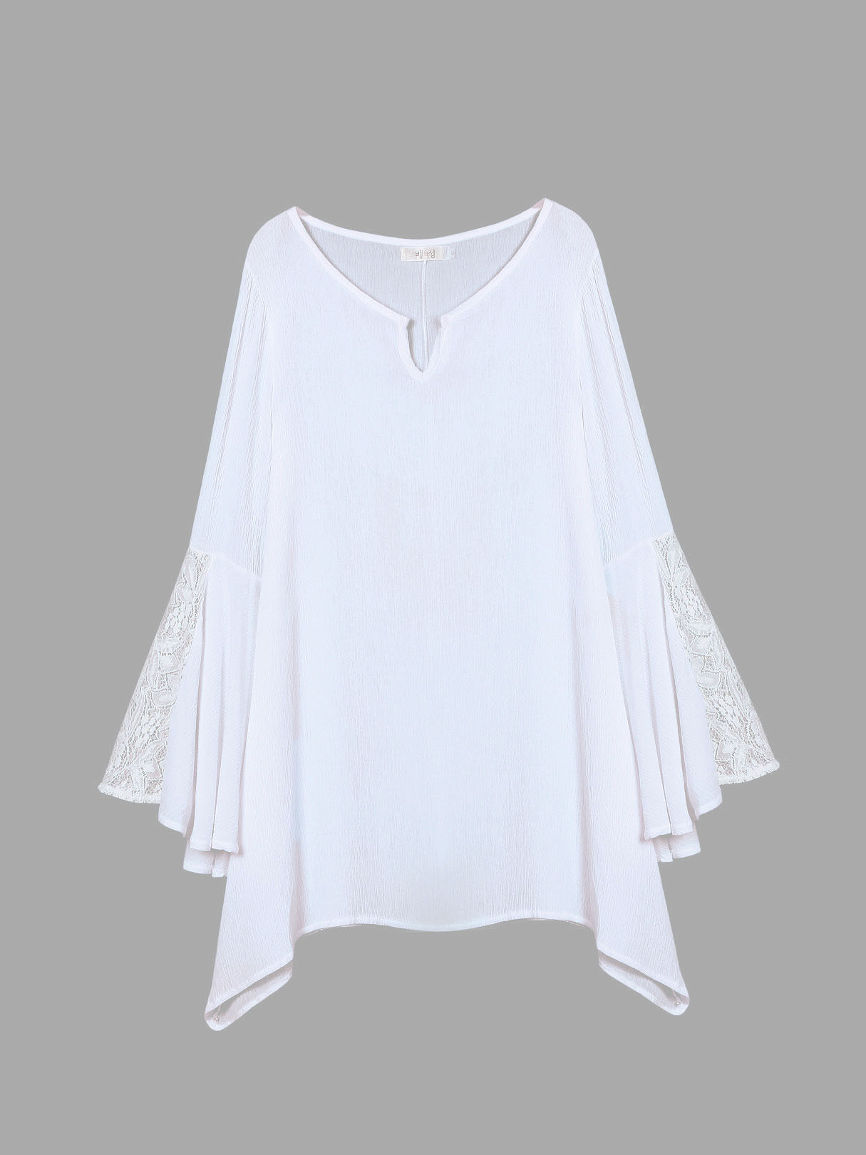 White Lace Bell Sleeve Swing Hem Mini Dress