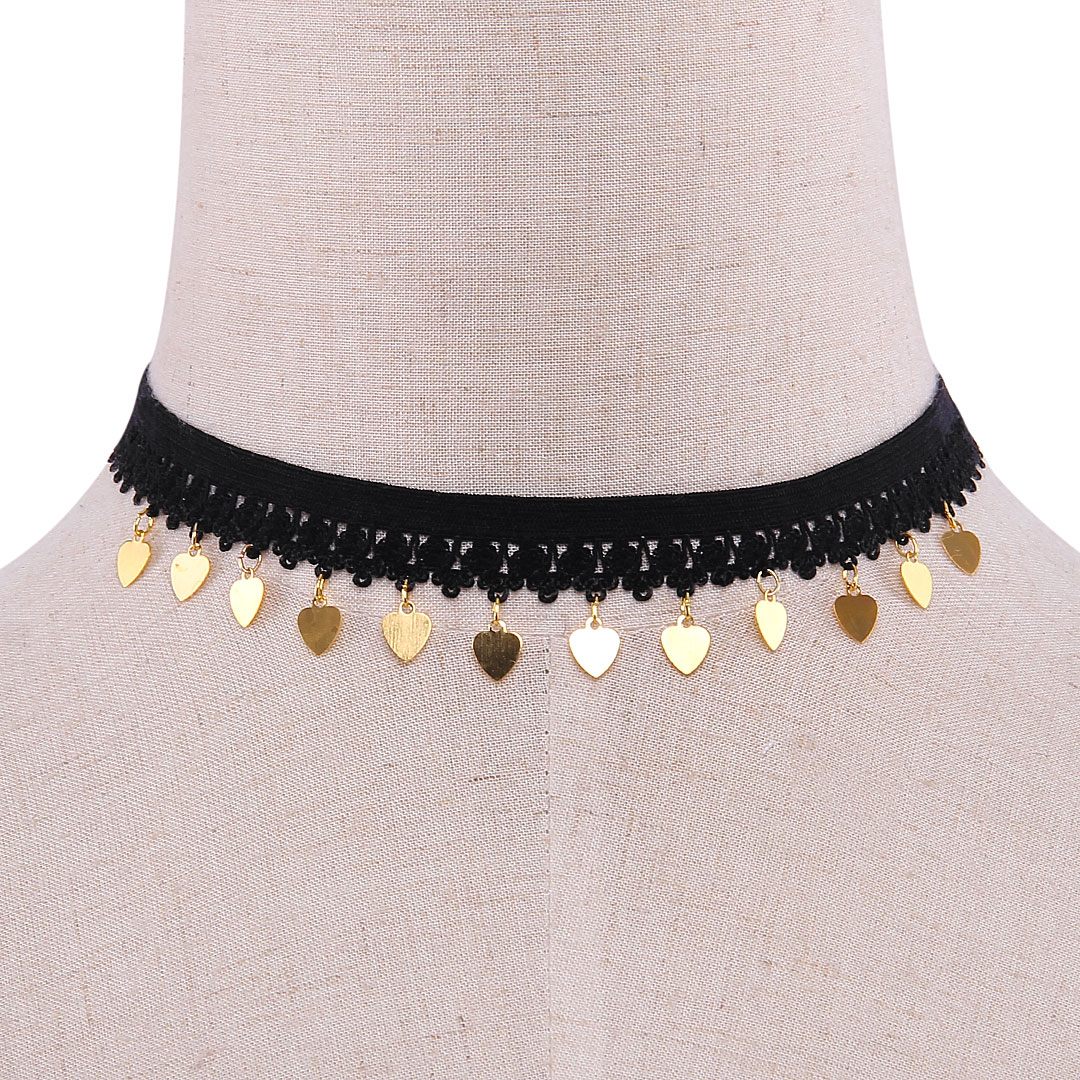 Heart Pendant Stretch Choker Necklace
