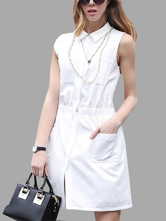 White Sleeveless Shirt Dress