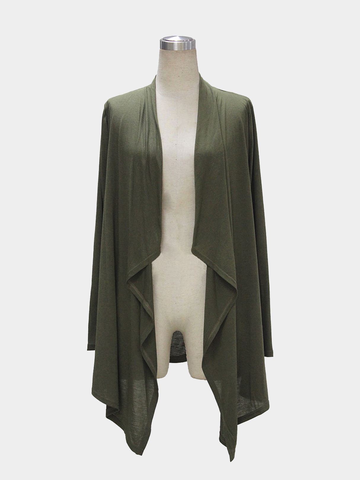 Army Green Long Sleeve Waterfall Cardigan