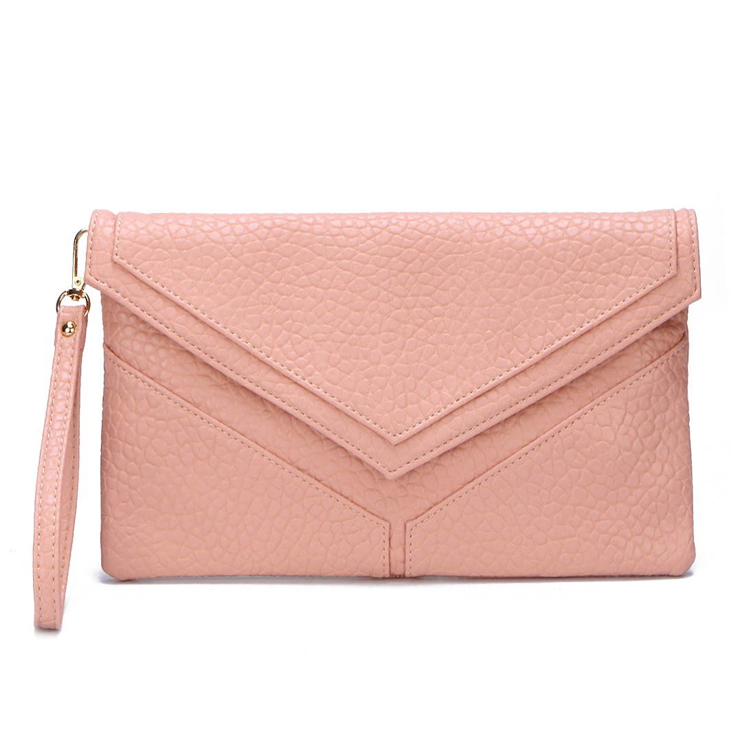 Pink Snake-effect Envelope Clutch Bag