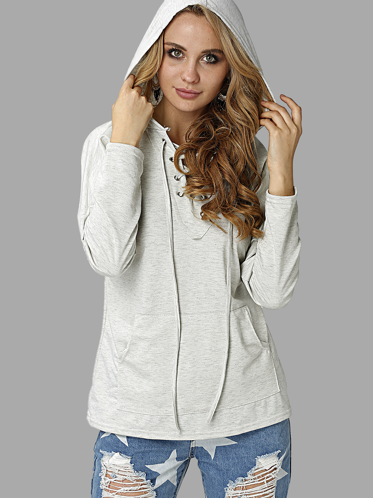 Light Grey V Neck Lace-up Pocket Front Hooded Sweatshirt grey layered contrast color hooded strappy front sweatshirt