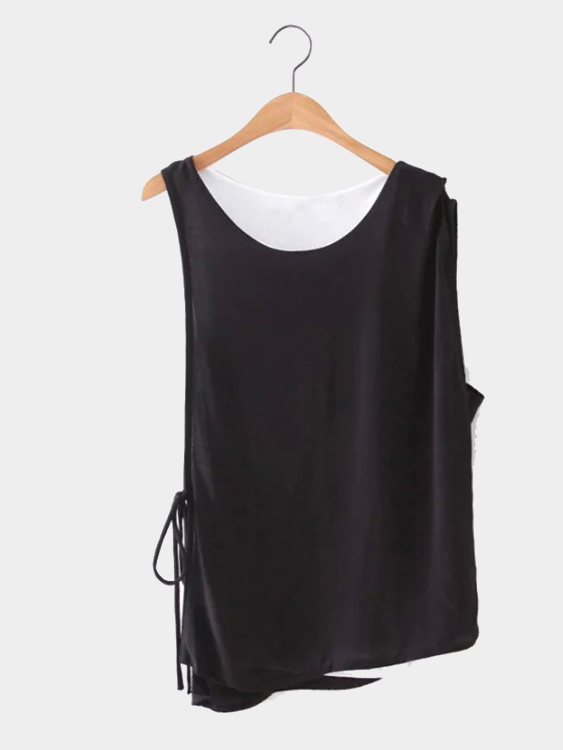 Black and White Double Layer Sleeveless Top the white guard