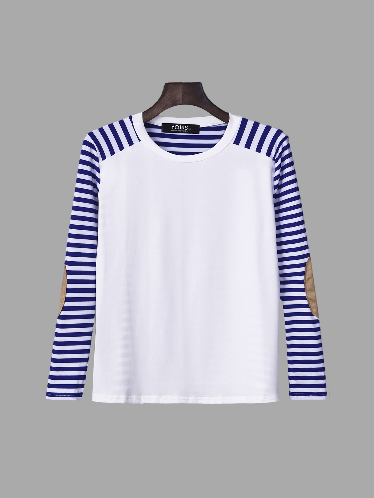Stripe Pattern Patch Design Long Sleeve Casual T-shirt stripe pattern shirt in sweet design