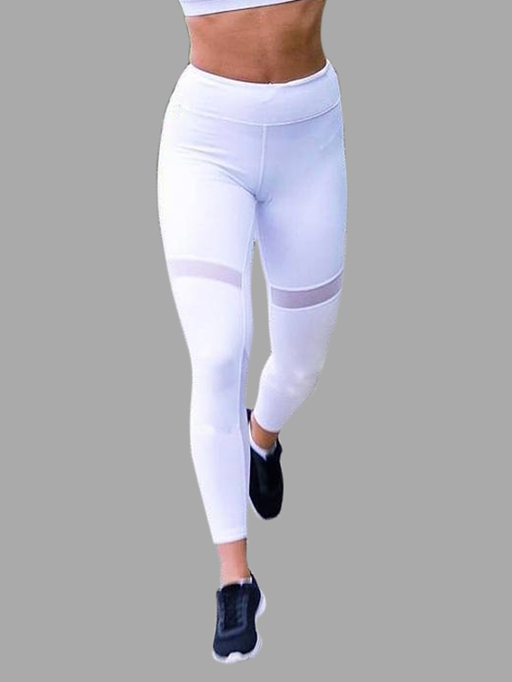 Active Net Yarn Quick Drying Stitching High Waisted Leggings in White active net yarn stitching high waisted sports leggings in grey