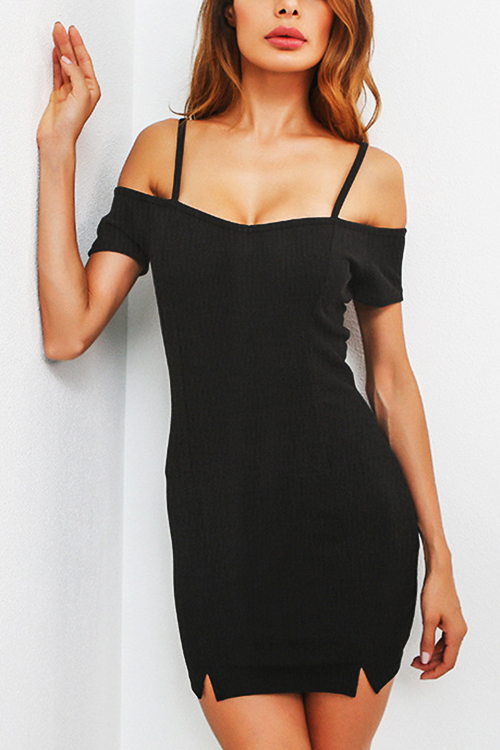 Black Sexy Cold Shoulder Bodycon Mini Dress
