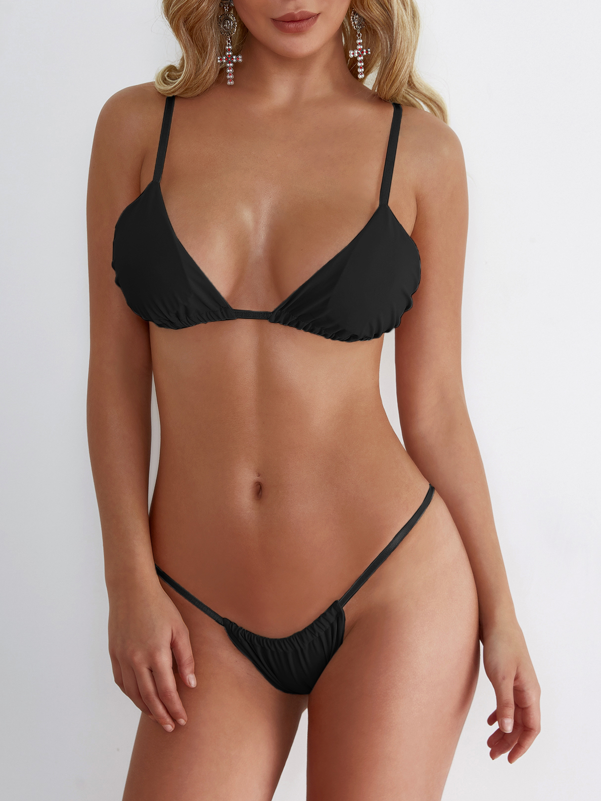 Black Backless Halter Thin Elastic Strap Design Bikinis Swimwear black backless halter thin elastic strap