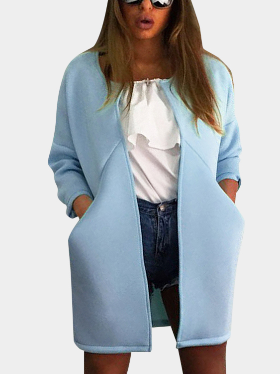 Blue Round Neck Jacket with Two Side Pockets