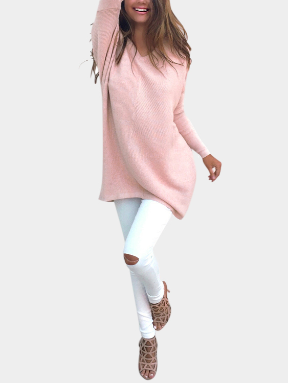 Pink Casual Long Sleeves V-neck Sweater