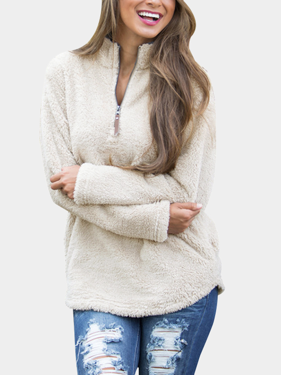 Beige Zip Front V-neck Fluffy Sweatshirt zip back frill neck and hem sweatshirt