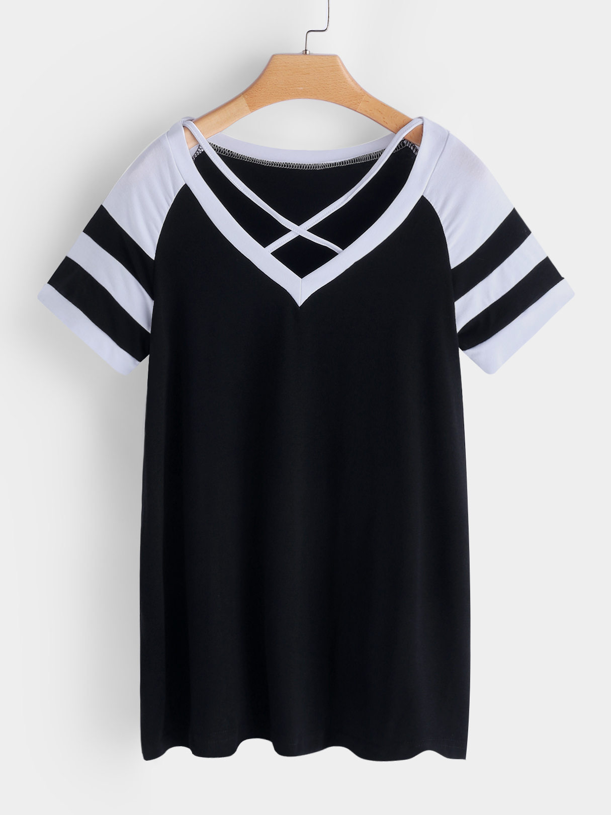 Black Stripe V-neck Short Sleeves T-shirts cut and sew mixed stripe t shirt