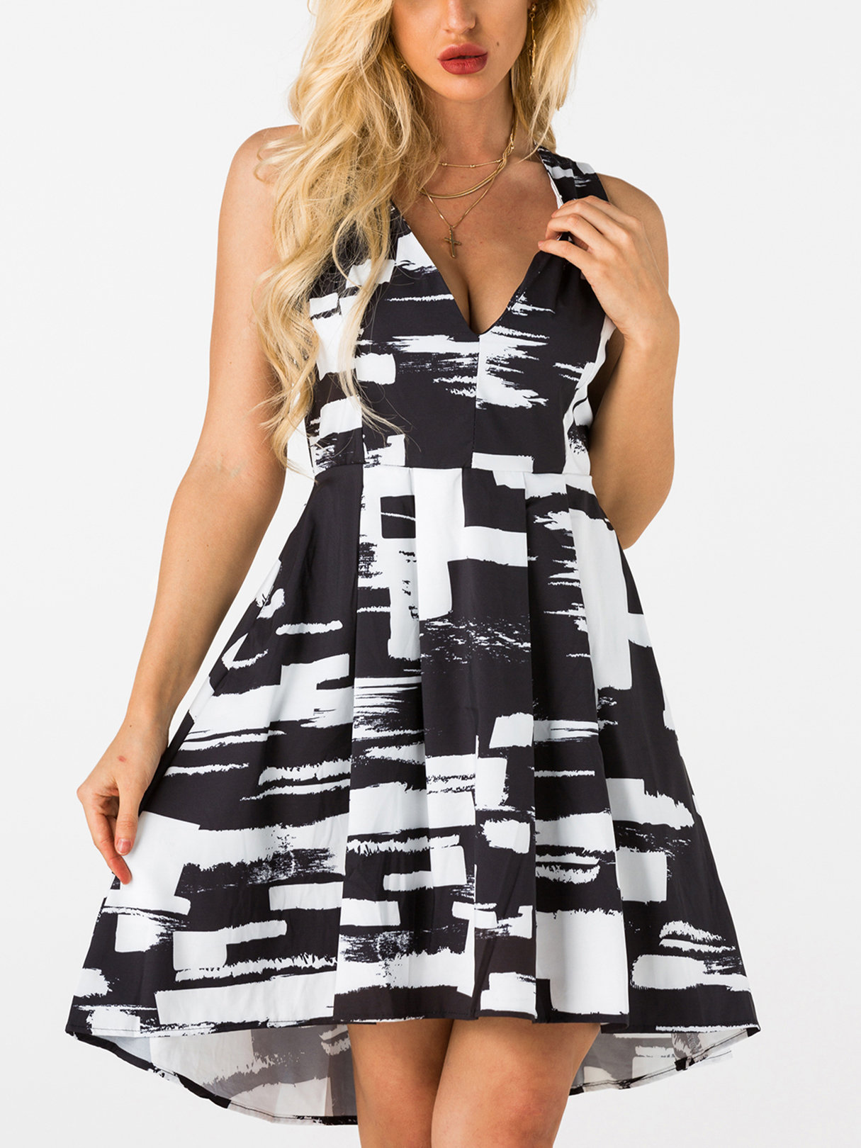 Black and White Zip Back Side Pockets Deep V-neck Midi Dress zip back fit and flared plaid dress
