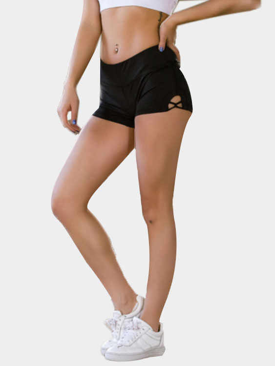 Black Bodycon Shorts with Hollow Design red sexy stretch waistband tracksuit