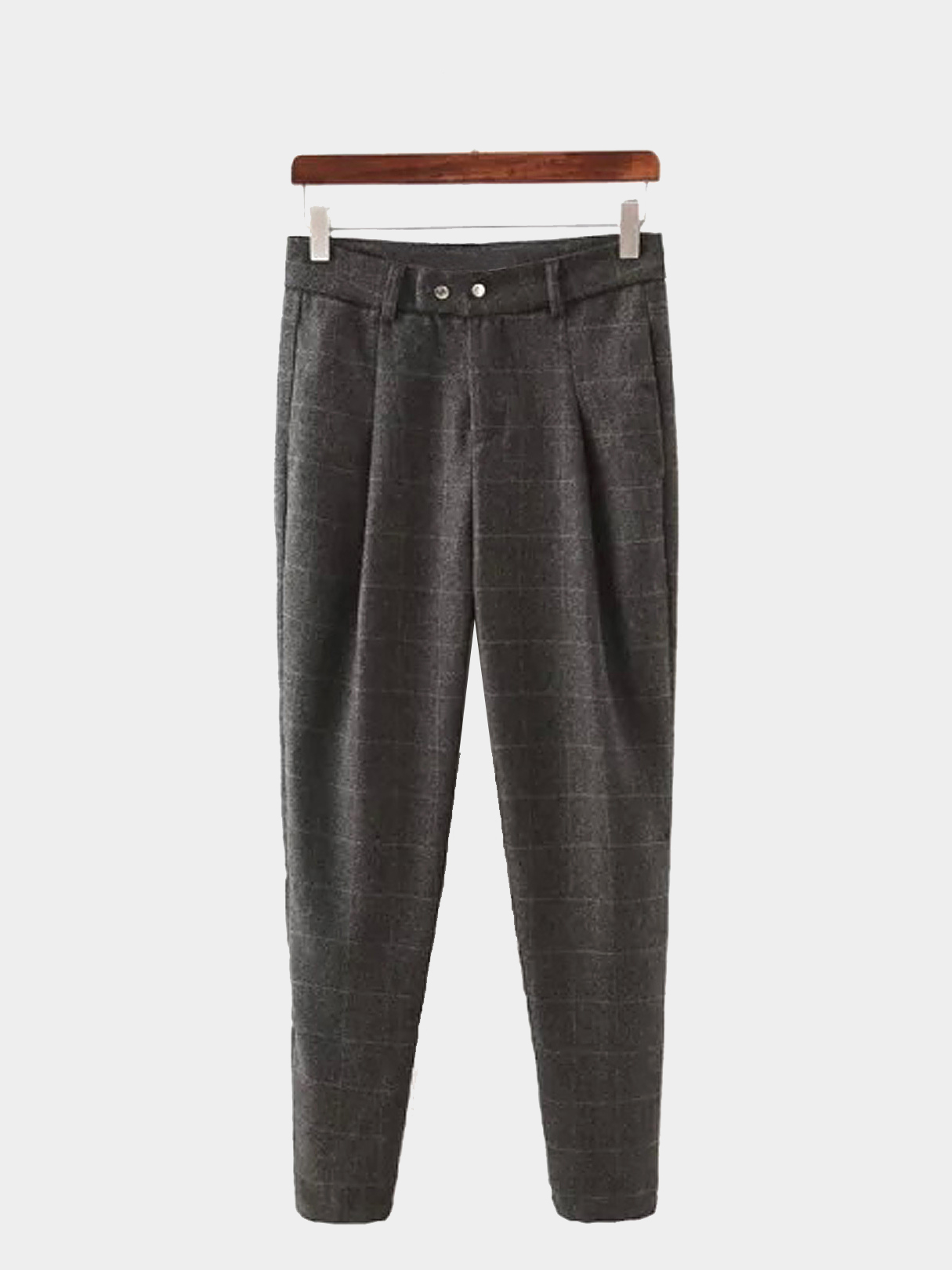 Plaid Woolen Tapered Trousers
