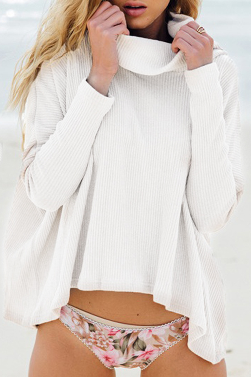 White Polo Neck Sweater with Back Slit Design