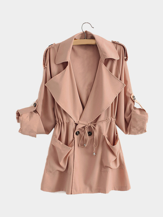 Pink Trench Coat With Drawstring Waist