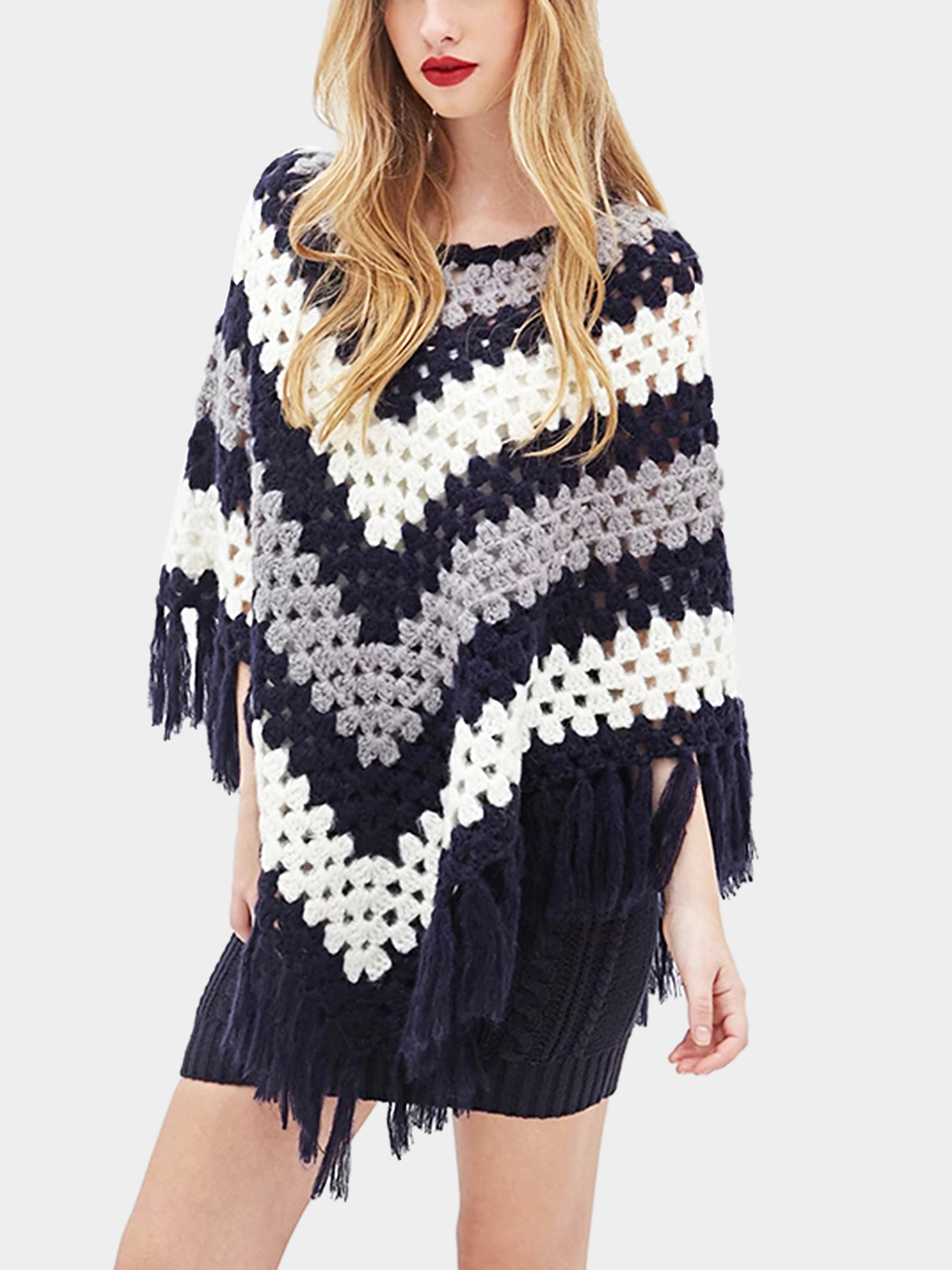 Color Block Stripe Hollow Out Cape with Tassel Hem