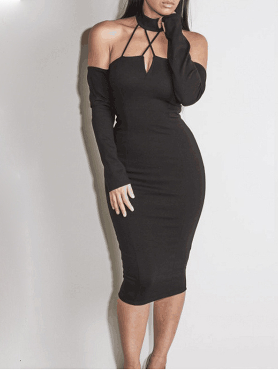 Black Caged V-neck Off Shoulder Long Sleeves Sexy Bodycon Party Dress caged neck solid dress