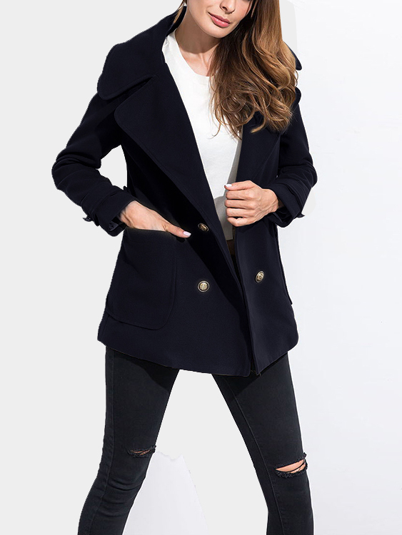 Navy Blue Minimalism Lapel Collar Double Breasted Outerwear ws755 autumn and winter wear threaded collar double breasted slim coat navy blue l