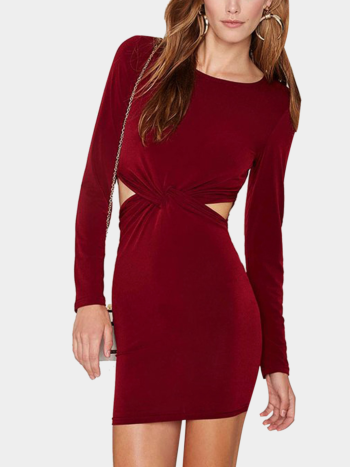 Knot Front Cutout Dress in Burgundy