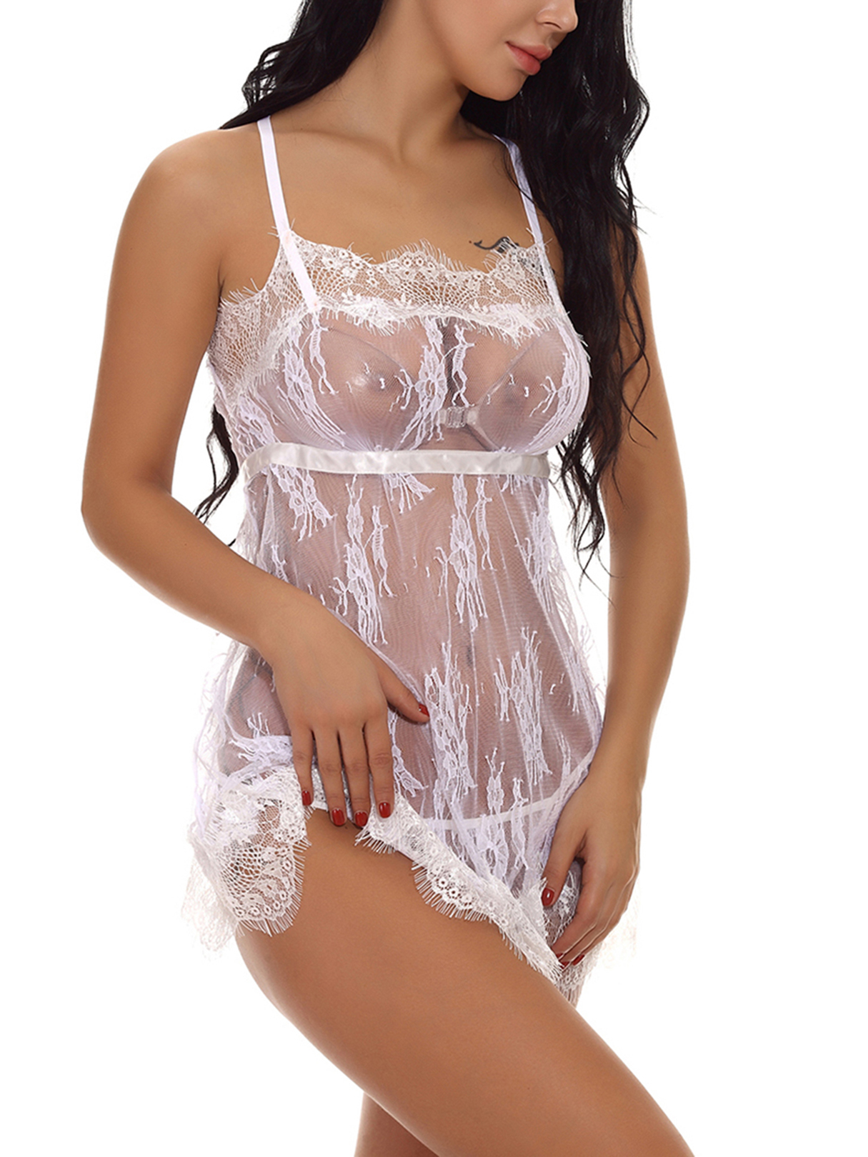White Lace Eyelash Trim Criss Cross See-through Pajamas with T-thong bow lace teddy with thong