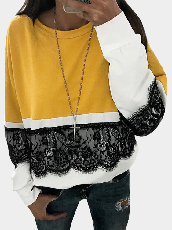 Yellow Lace Stitching Details Crew Neck T-shirt цены