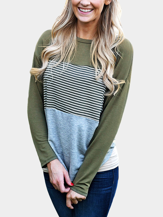 Green Stripe Stitching Round Neck Long Sleeves T-shirt red stripe pattern stitching long sleeves t shirt