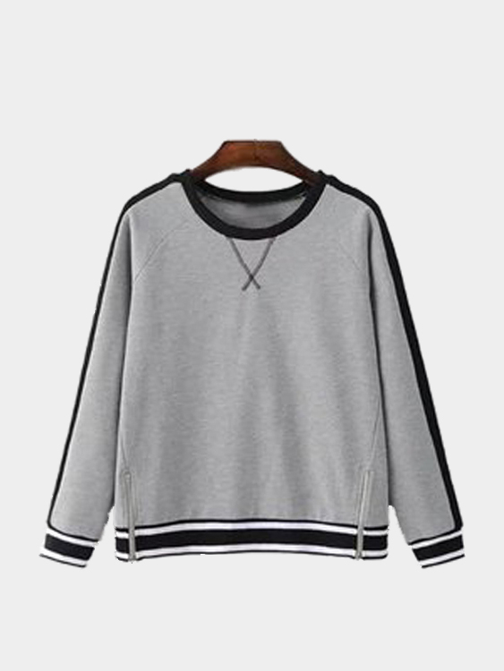 Simple Design Contrast Color Zipper Details Sweatshirt