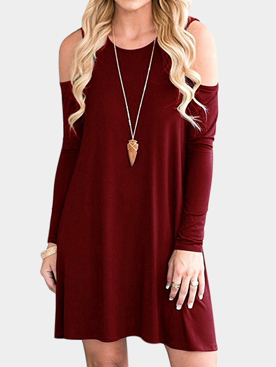 Burgundy Side Pockets Cold Shoulder Long Sleeves Dresses grey side pockets cold shoulder long sleeves dresses