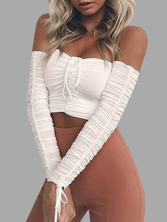 White Drawstring Pleated Off Shoulder Crop Top SKU823930