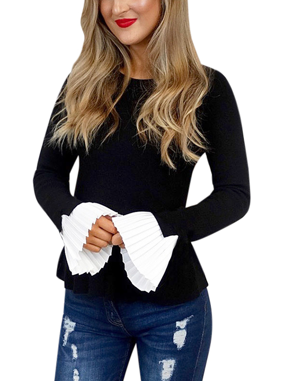 Black Pleated Design Round Neck Bell Sleeves Knitted Top цена