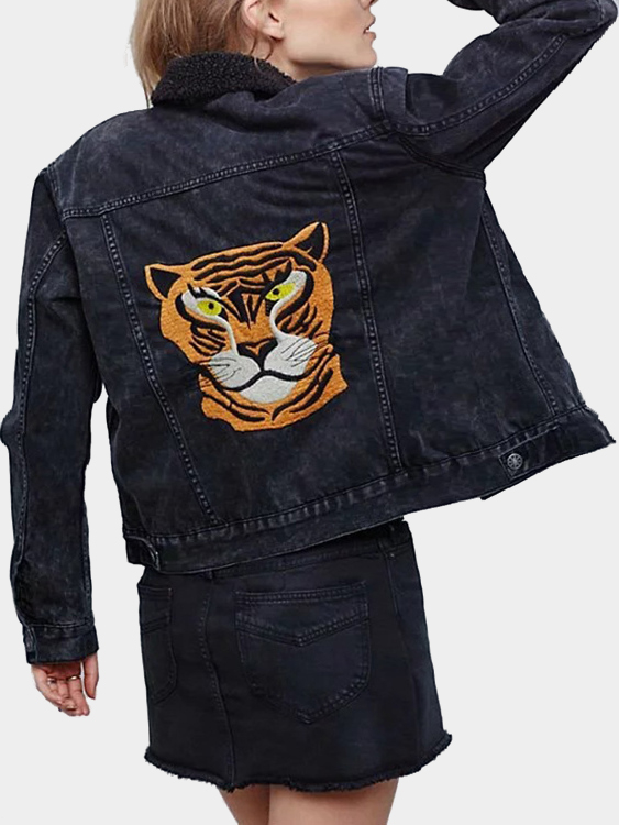 Fashion Tiger Embroidery Pattern Two Chest Pockets Jacket