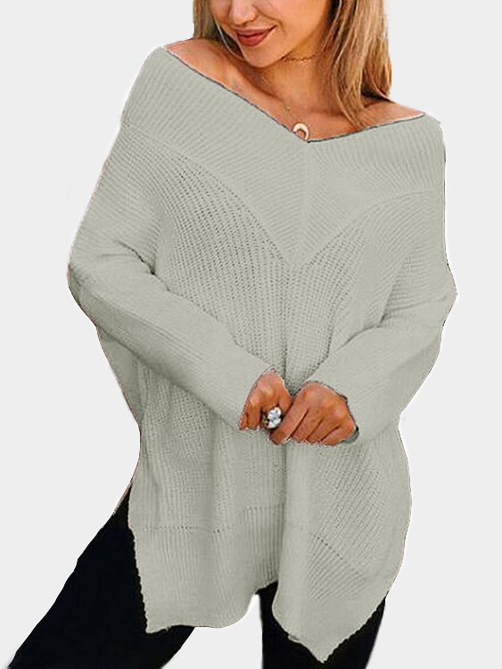 Grey V-neck Splited Hem Loose Sweaters