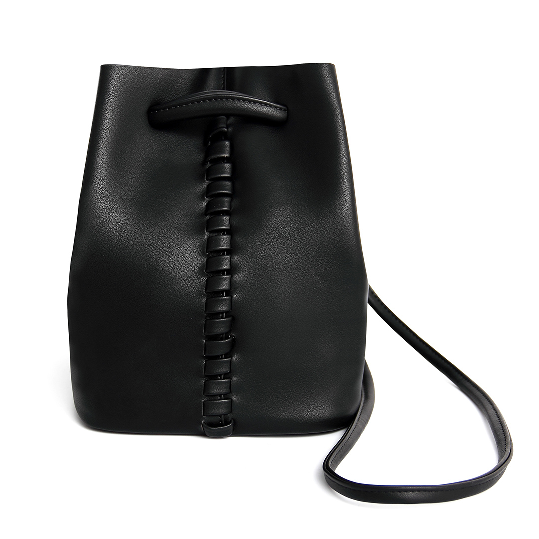 Drawstring Leather Bucket Bag in Black