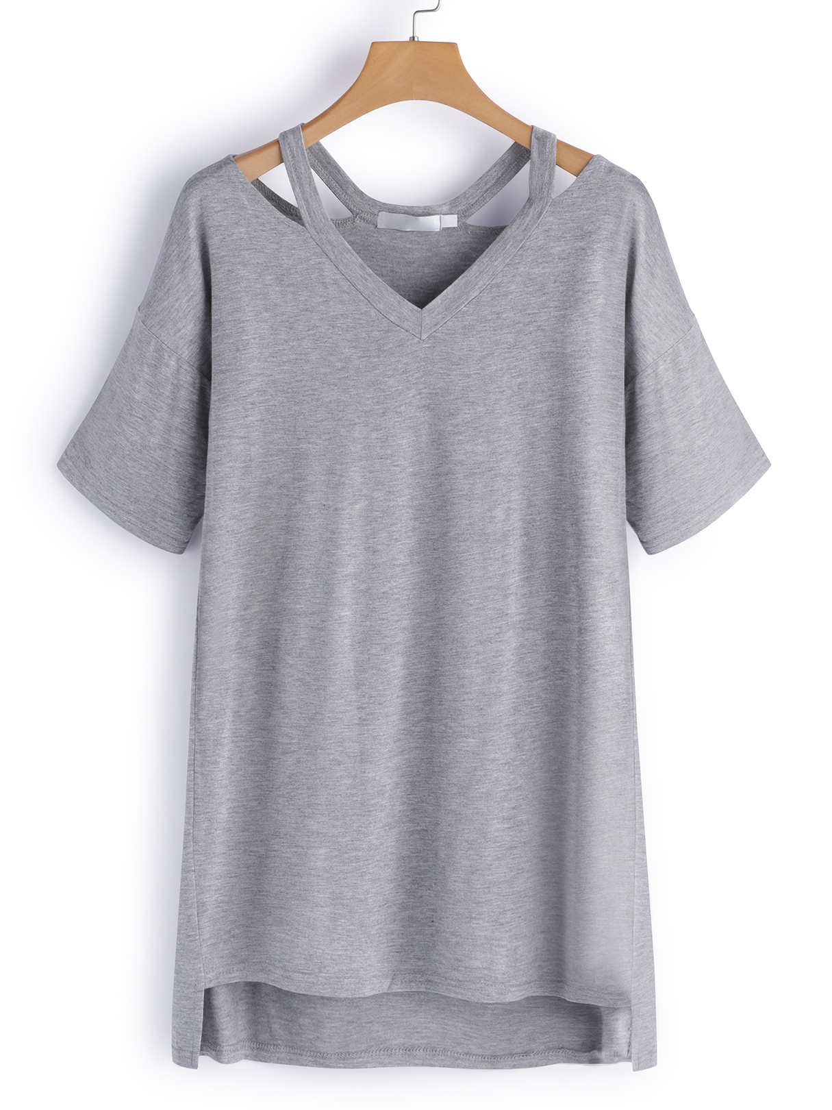 Grey Hollow Out V-neck Short Sleeves T-shirts