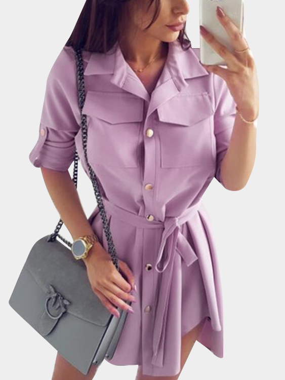 Purple Basic Collar Lace-up Design Single Breasted Button Long Sleeves Shirt Dress все цены