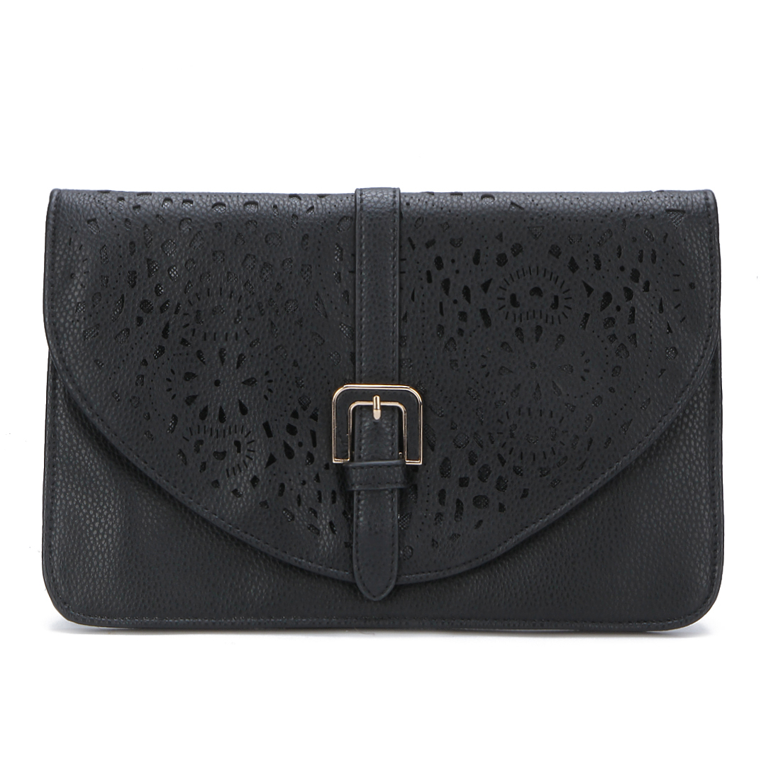 Black Leather-look Hollow Details Clutch Bag with Shoulder Strap