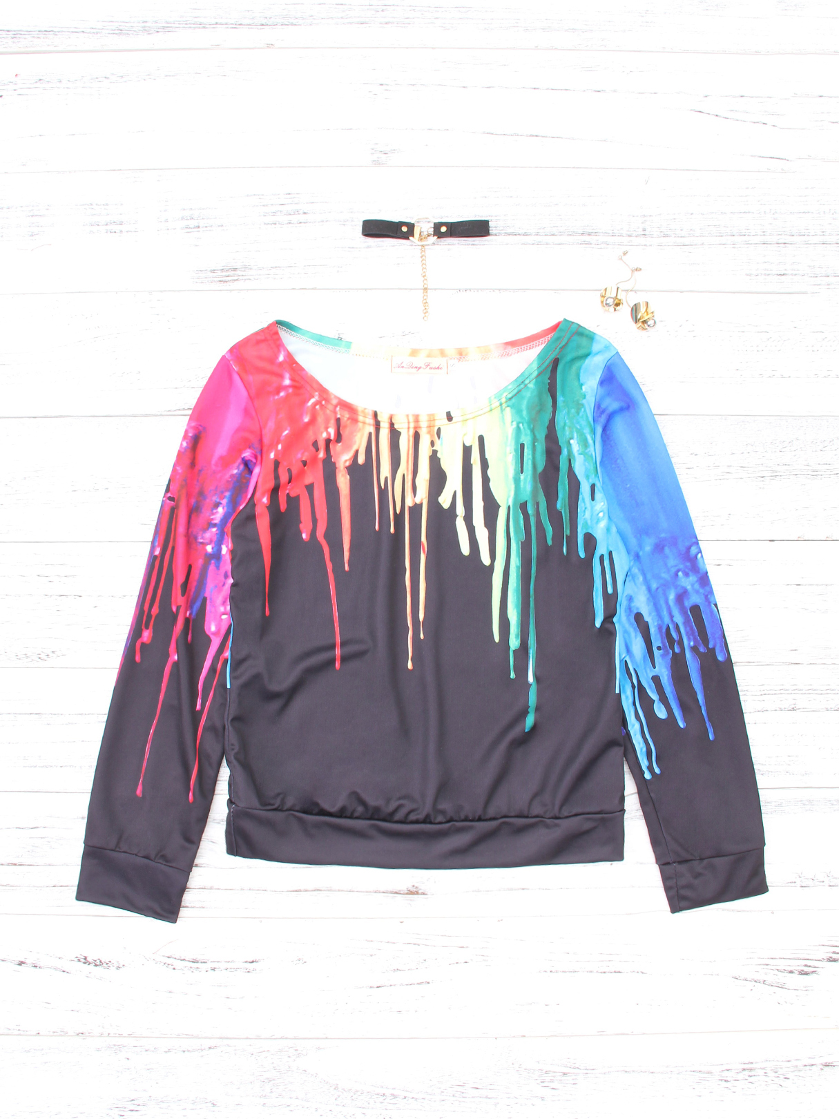 Fantasy Colour Asymmetrical Sweatshirts in Black