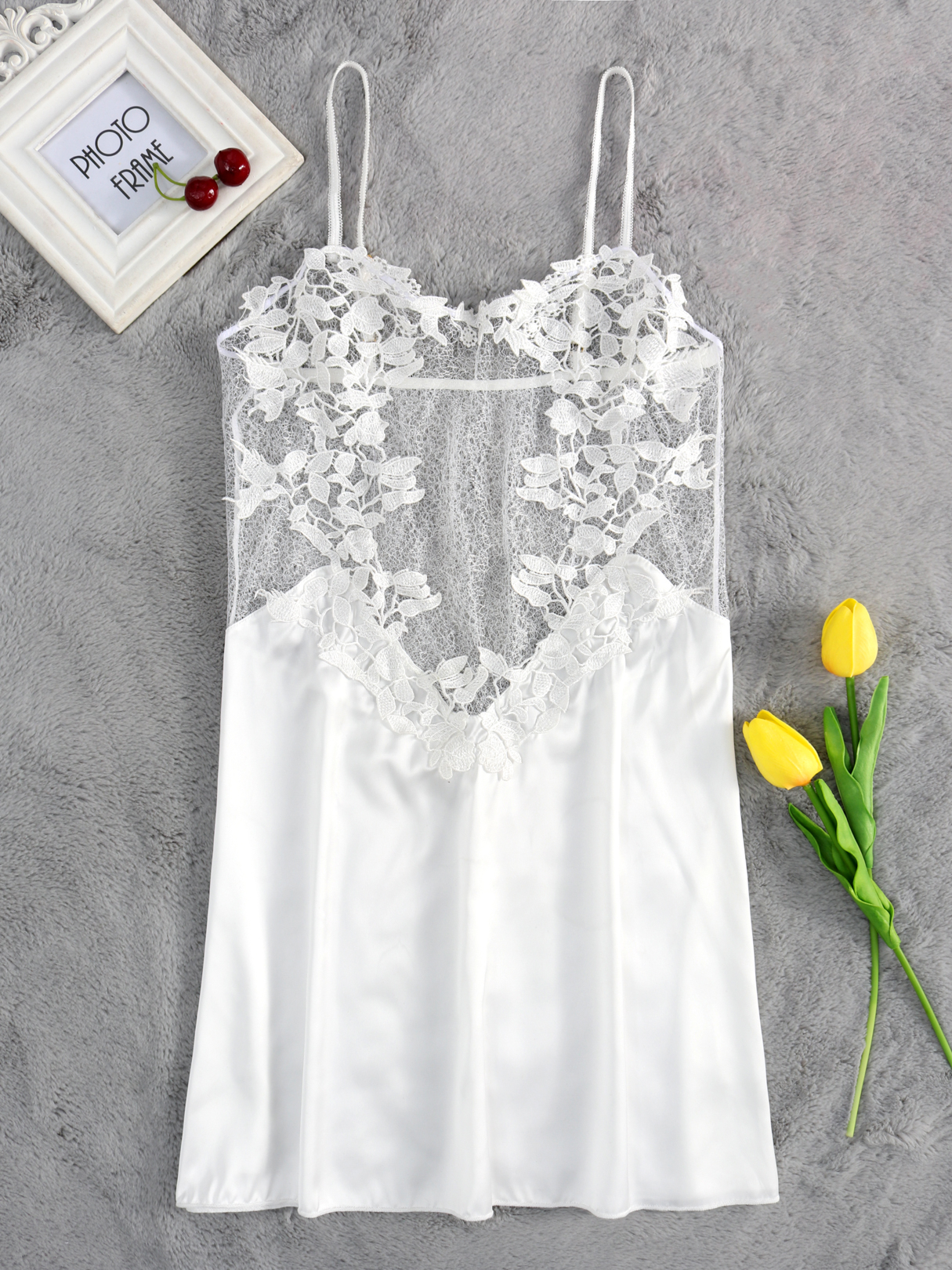 Sexy Lace Details See-through Pajamas in White