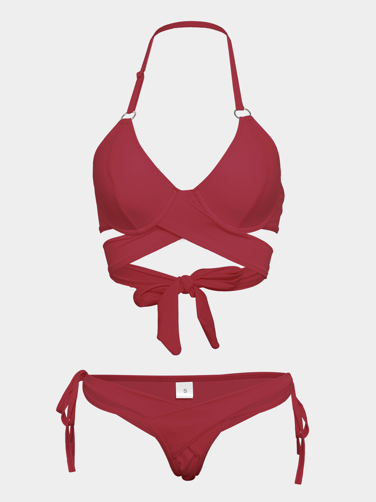 Burgundy Sexy Basic Cross Front Bikini Set