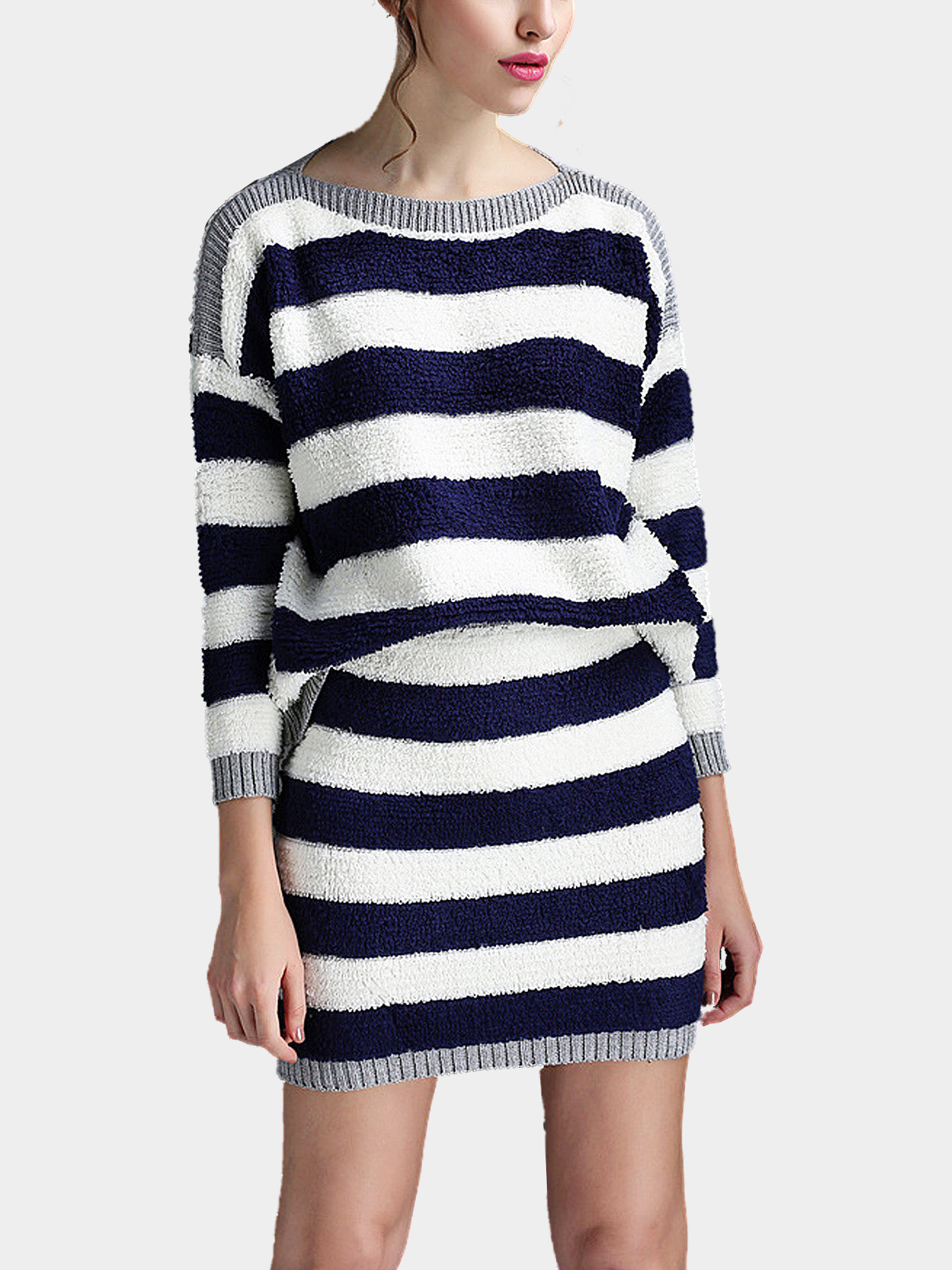 Navy and White Stripe Knitted Jumper and Mini Pencil Skirt