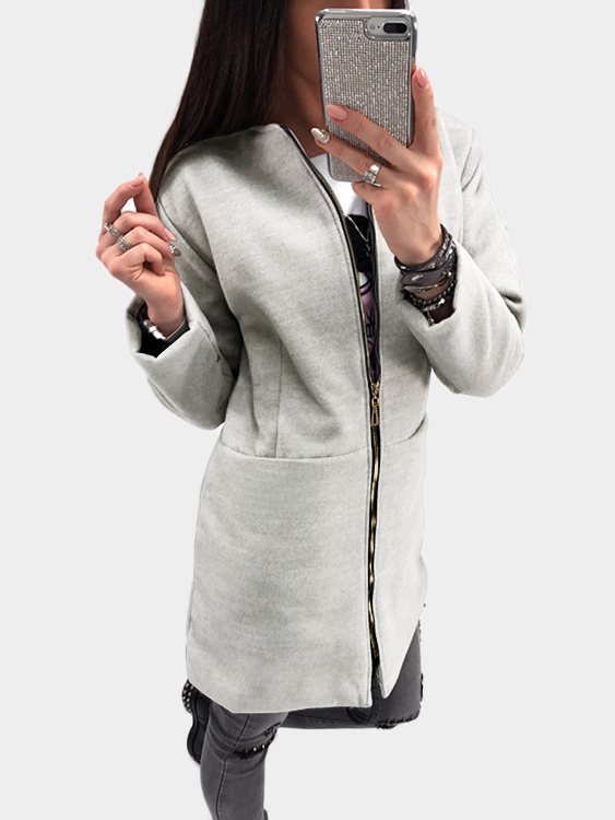 Grey Two Large Pockets Long Sleeves Outerwear